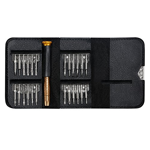25 in 1 Precision Screwdriver Set, FREEWISE DIY Mini Repair Tool Kit for PC, Glasses, Mobile Phone, Laptop, Watch, Drone with Leather Case ()