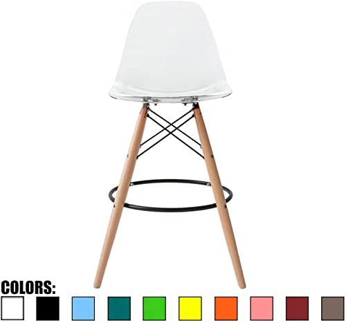 2xhome Eiffel Style Modern Mid Century Armless With Back Bar Stool Height Counter Chair With Natural Wood Legs, 28 , Clear,1 piece
