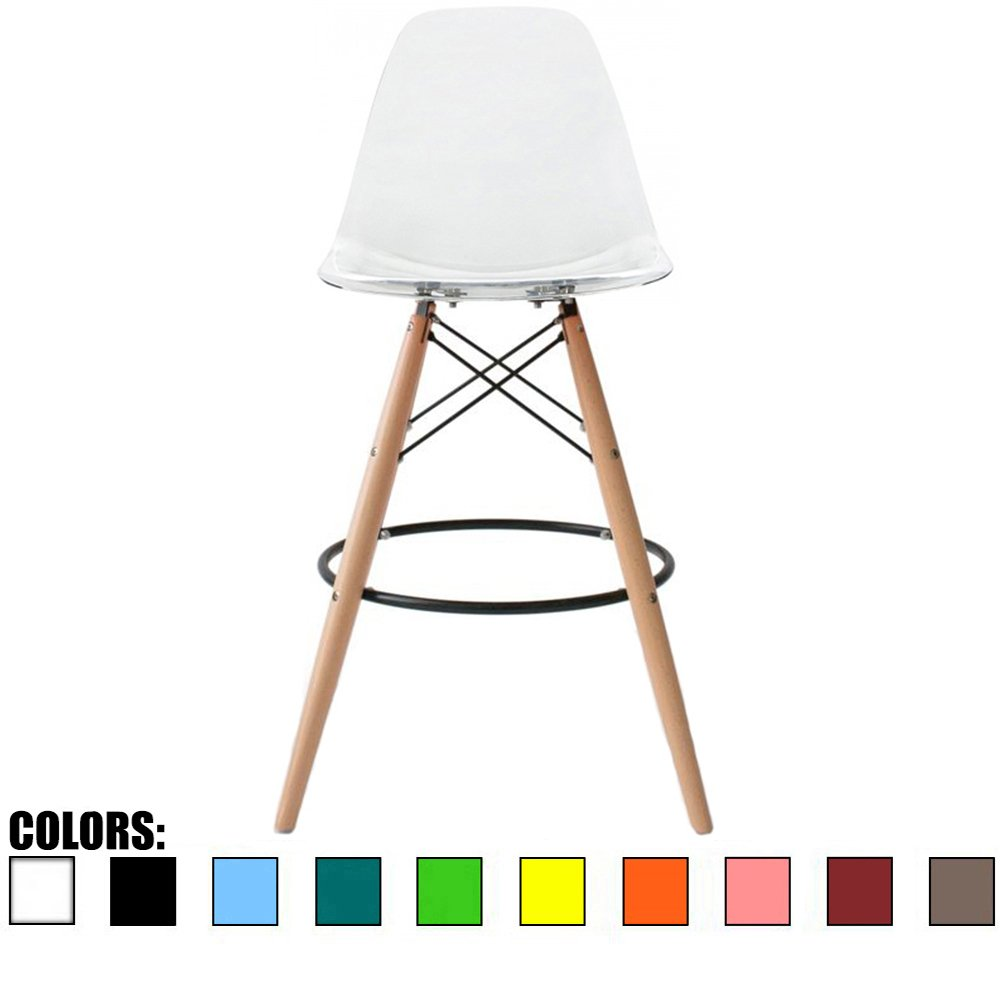 2xhome - Clear - 28'' Seat Height Eames Style DSW Molded Plastic Bar Stool Modern Barstool Counter Stools with backs and armless Natural Legs Wood Eiffel Legs Dowel-Leg…