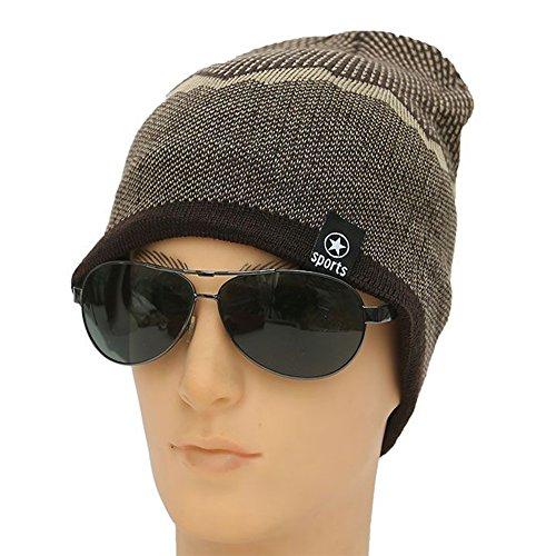 Ukallaite Our Fashion Century - Gorro de Punto elástico para Hombre, Forro Polar, cálido, Color Negro, Gris marrón