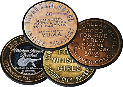 Brothel Tokens Neoprene Coaster Set of 4 for Numismatist Coin Collector Cat Whore Prostitution House