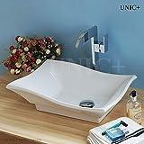 UNICPLUS, Curved Line Porcelain Ceramic Bathroom Vanity Vessel Sink Bowl Drop in, BVC003