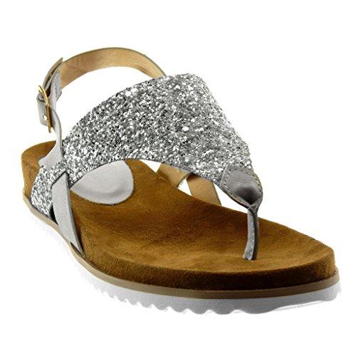 Cheville Lanière Tong Talon Argent 2 Sandale Basket Salomés Semelle Femme Angkorly 5 compensé Paillettes Chaussure Mode Lanière CM wqXFFUx
