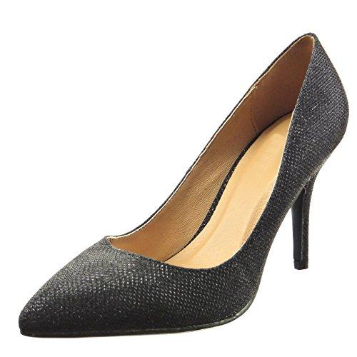 Sopily - Zapatos De Moda Con Zapatos De Tacón De Aguja Mujer Brillante Stiletto De Tacón Alto 9 Cm - Negro