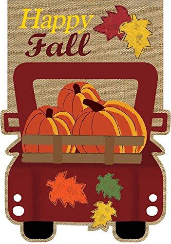 (Briarwood Lane Happy Fall Pickup Burlap House Flag Autumn Give Thanks 28