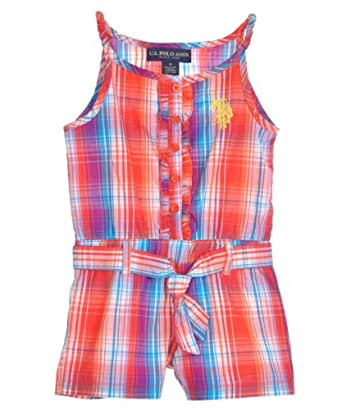 US Polo Assn Girls Red Ozward Plaid Printed Romper (4)