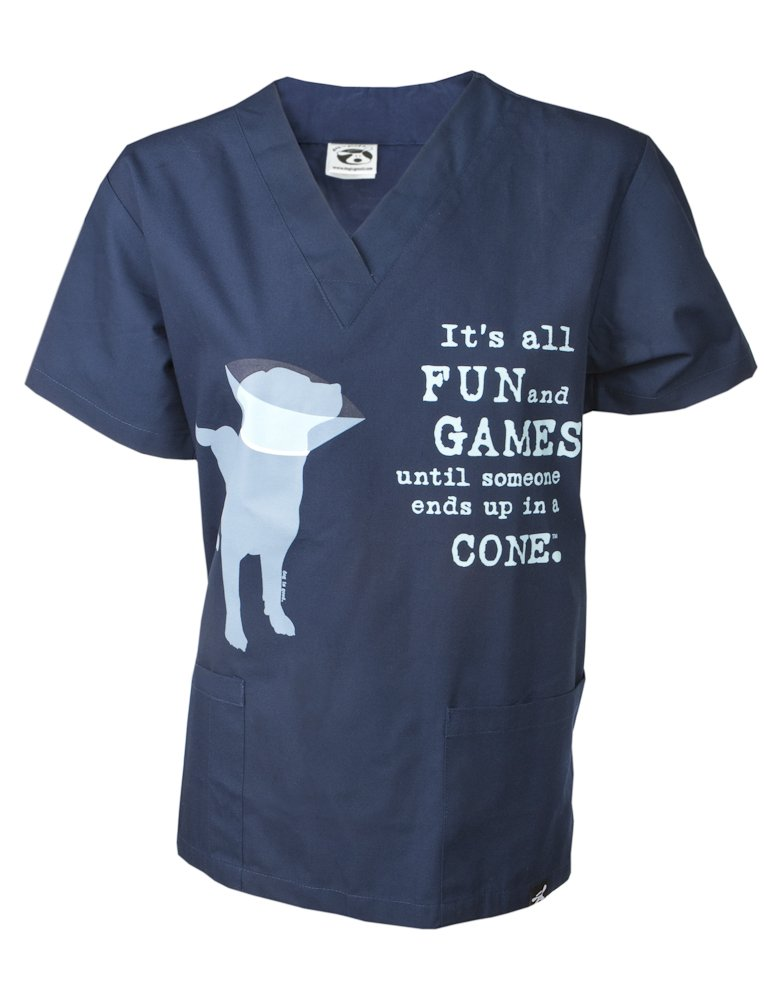 Dog is Good Unisex It's All Fun and Games Scrub Top Large Navy
