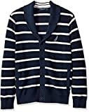 Nautica Men's Light Weight Long Sleeve Button Front Striped Cardigan, True Navy, Large