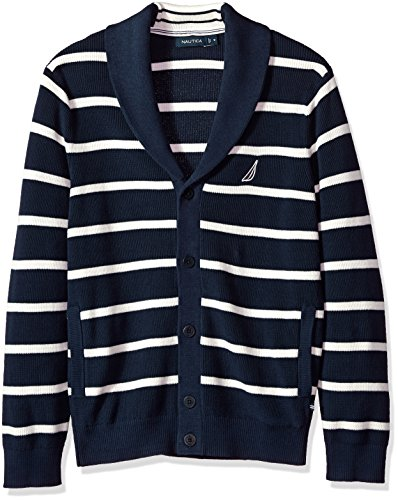 Nautica Men's Light Weight Long Sleeve Button Front Striped Cardigan, True Navy, Large by Nautica