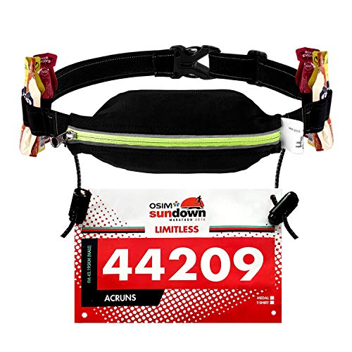 - WEIJI Running Pouch Number Belt Race Bib Holder for Running,Cycling,Marathon,Triathlon with Elastic Adjustable 6 Energy Gel Loops