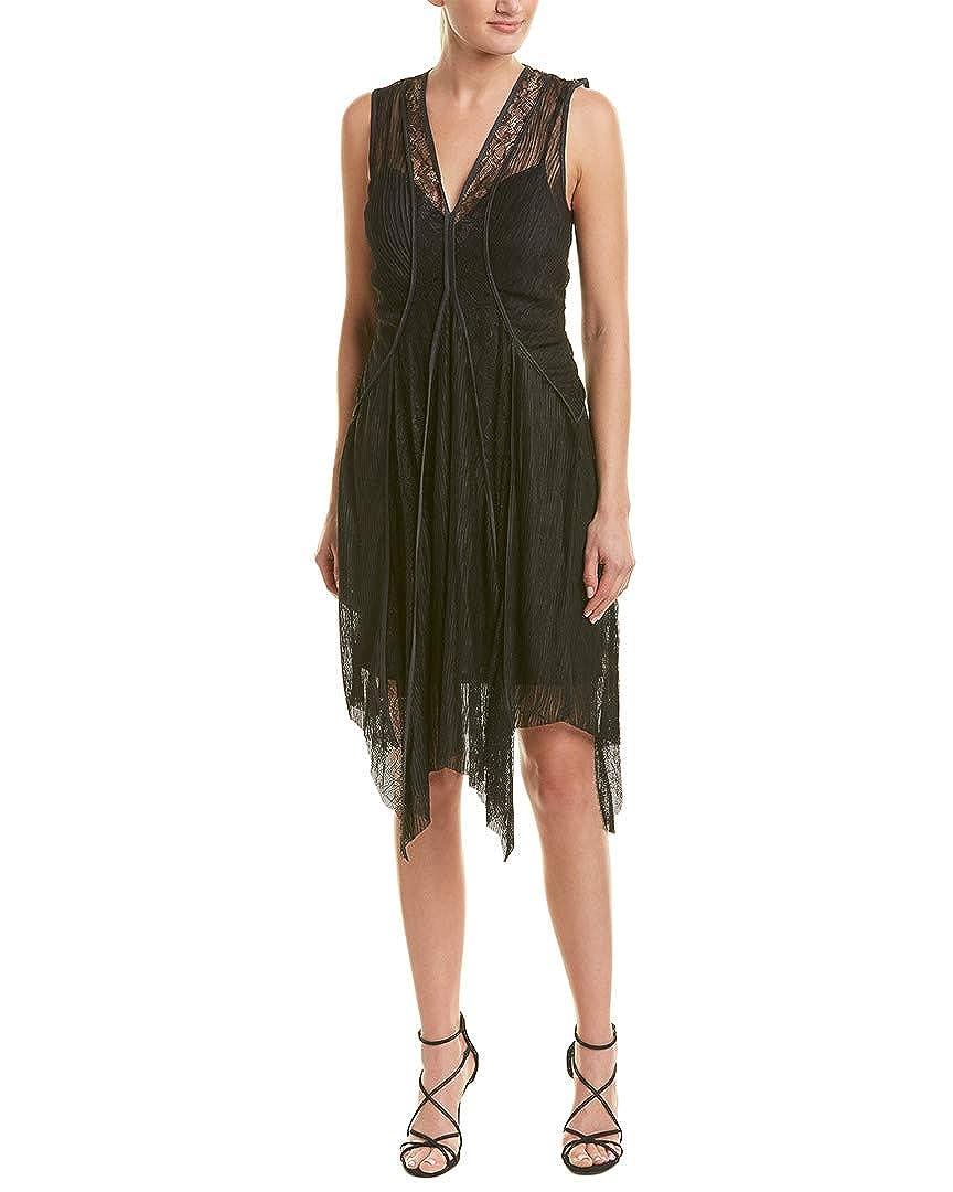 66c86ad7d6 Amazon.com  BCBGMAXAZRIA Women s Asymmetrical Lace-Trimmed Dress  Clothing