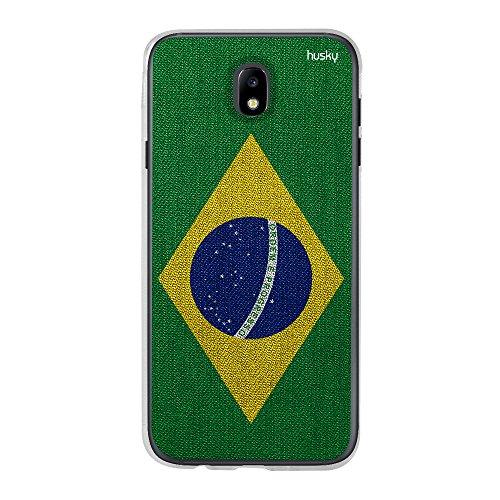 Capa Personalizada Bandeira Brasil, Husky para Galaxy J7 Pro (2017), Capa Protetora para Celular, Multicor