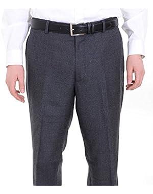 Regular Fit Charcoal Gray Textured Flat Front Wool Dress Pants