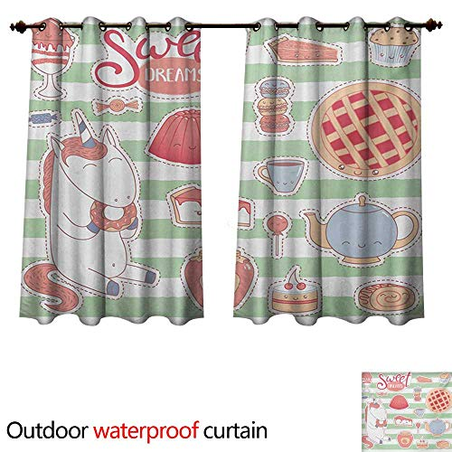 - WilliamsDecor Sweet Dreams Outdoor Ultraviolet Protective Curtains Various Desserts in Cartoon Style Funny on Green Stripes Unicorn Eating Donut W96 x L72(245cm x 183cm)