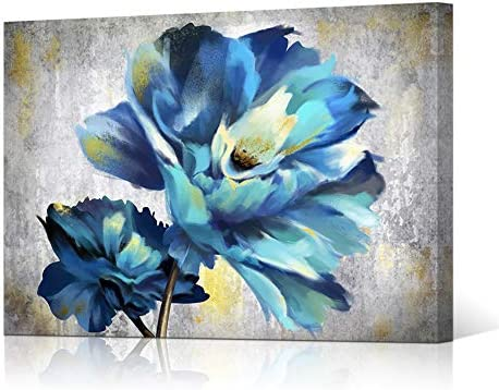 HOMEOART Flower Wall Art Abstract Teal Blue Floral Painting Picture Prints Giclee Canvas Artwork Framed Home Kitchen Decor 24″x36″