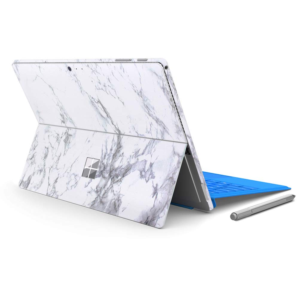 "MasiBloom Laptop Decal Sticker Protective Skin for 12.3"" Microsoft Surface Pro 6 2018 Released & New Surface Pro 2017 & Pro 4 (for Surface Pro 6/5/4, Marble- White)"
