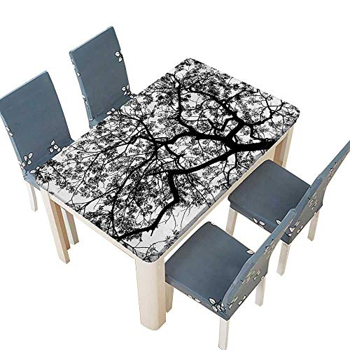 PINAFORE Indoor/Outdoor Polyester Tablecloth Forest Tree Branches Modern Decor Spooky Horror Movie Themed Print Black and White Wedding Restaurant Party Decoration W25.5 x L65 INCH (Elastic -