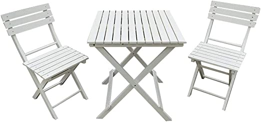 T.Mullen - Conjunto de Muebles de jardín (Madera), Blanco: Amazon.es: Jardín