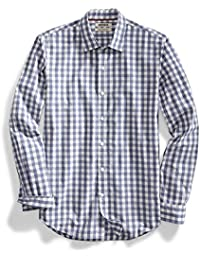 Men's Slim-Fit Long-Sleeve Large-Scale Gingham Shirt