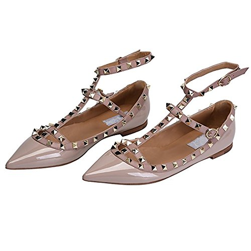 Chris-T Women's Metal Studs Strappy Buckle Pointy Toe Flats Comfortable Dress Pumps Shoes 5-14 US Apricot free shipping with paypal sale genuine shop discount extremely fw5CM
