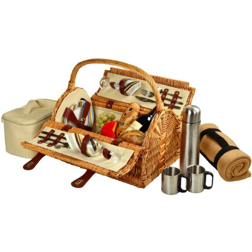 Rattan Double Shaker (Picnic at Ascot Sussex Willow Picnic Basket with Service for 2,  Coffee Set and Blanket - Santa Cruz)