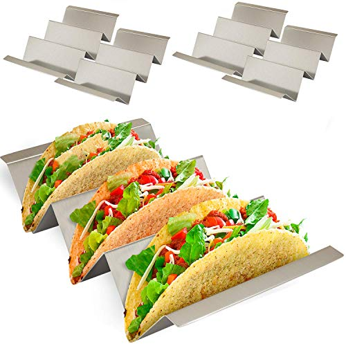 Taco Holder Stand with Easy Carry Handles - 4 Pack - Stainless Steel Metal Racks for Taco Shell, Tortilla, Burrito, Fajita And More. Oven And Grill Safe by Ultimate Hostess