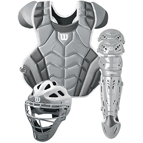 (Wilson C1K Catcher's Gear Kit, Silver/White)