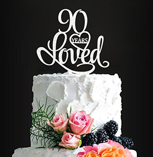 Acrylic Custom 90 Years Loved Birthday Cake Topper, 90th Birthday Party Decorations, 90th Wedding Anniversary Year Cake Topper (silver1) ()