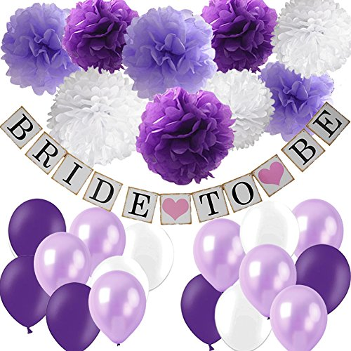 Purple Bridal Shower Decorations Set- Bride To Be Banner White Lavender Purple Big Size Tissue Paper Flower Pom Poms Latex Balloons for Lavender Purple Wedding Party Decor/Bachelorette Party ()