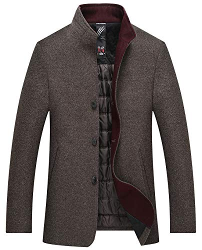 Itemnew Men Winter Stand Collar Single Breasted Wool Blend Down Pea Coat Jacket (Medium, Coffee) -