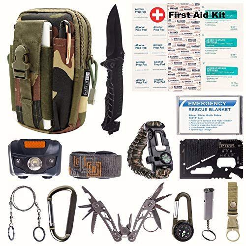 Mastersos Survival Emergency Kit – Survival Gear for Outdoor, Hiking and Camping – SOS Survival Kit with Emergency Blanket, Headlight, Military Knife, Compass, Wire Saw, Saber Card and More