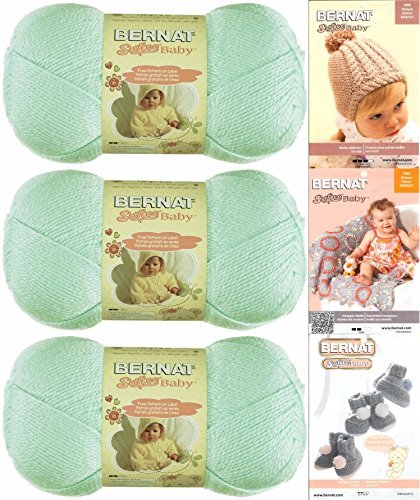 Bernat Softee Baby Yarn 3 Pack Bundle Includes 3 Patterns DK Light Worsted (Mint) -