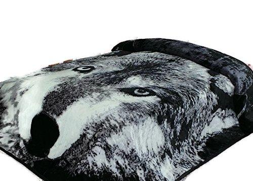 Wolf Throw Animal Blanket,3.5 Pounds,ultra Plush Korean Comfy, Safari Mink, Warm