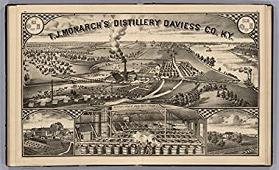 """Map Poster - View: T.J. Monarch's Distillery Daviess Co., Kentucky. Residence of T.J. Monarch. Interior View of Sour Mash Room. Tenement Houses. - 24""""x15"""""""