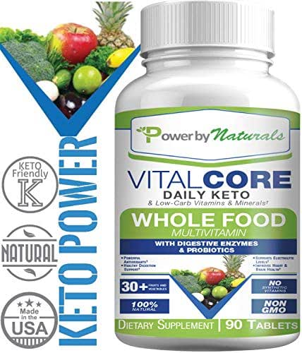 PbyN - Keto Vital Core - Daily WholeFood Keto Multivitamin with Minerals, Electrolytes, Digestive Enzyme and Probiotics, Multi Supplement for Low-Carb, Atkin, Paleo, Ketogenic Weight Loss Diets 90 ct