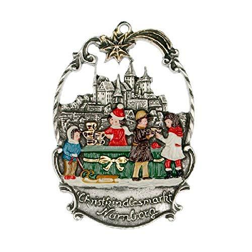 Pinnacle Peak Trading Company Christmas Market in Nuremberg German Pewter Ornament Nurnberg - Painted Pewter Ornament