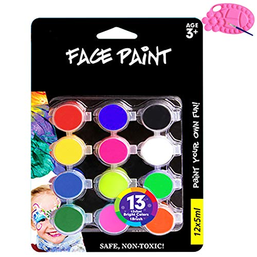 Magicdo Face Paint, Water Based Face Painting Kit with Brush and Palette, Washable Non-toxic Moisturizing Body Paint for Halloween Costume Cosplay Parties (12 Colors x 0.17 Fl oz)