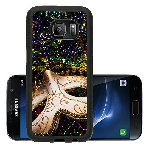Luxlady Premium Samsung Galaxy S7 Aluminum Backplate Bumper Snap Case IMAGE ID: 26111871 Colorful Mardi Gras Mask with beaded (Carnavale Costumes)