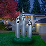 Holidayana Halloween Inflatable Giant 10 Ft Ghost Trio Featuring Lighted Interior / Airblown Inflatable Decoration With Built In Fan And Anchor Ropes