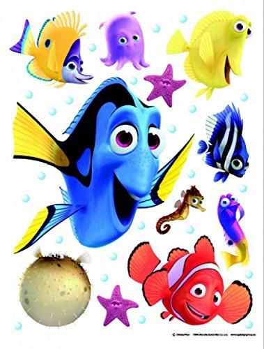 1art1 Finding Nemo Poster-Sticker Wall-Tattoo - Dory, Bloat, Gill, Peach, Bubbles, Deb, Gurgle (34 x 26 inches)]()