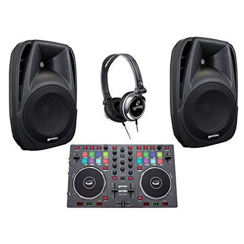 Gemini KITGCIA DJX-03 DJ Headphones, SLATE 2-Channel Controllers & Pair of ES-08P 8'' Loudspeakers