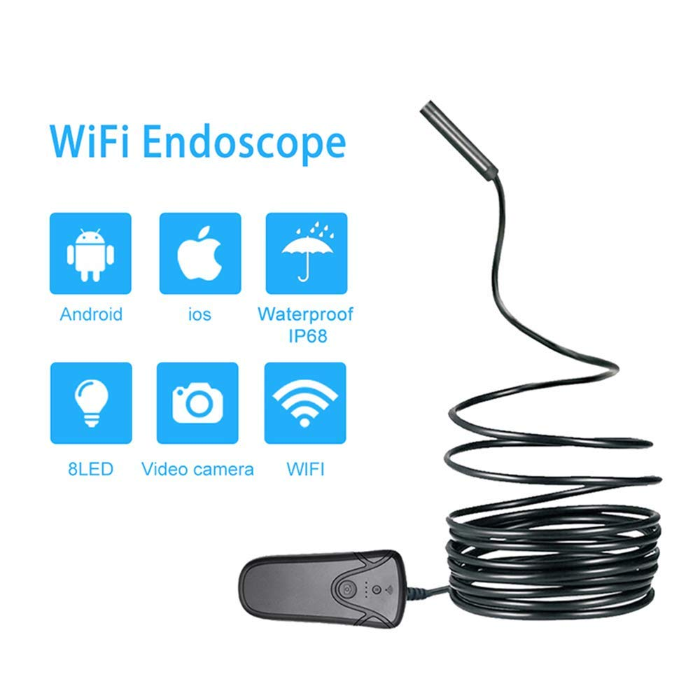 Wireless Inspection Camera IP68 Waterproof WiFi Borescope Endoscope 1080P HD Snake Camera with 8 LEDs for Android and iOS Tablet