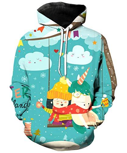 KIDVOVOU Unicorn Hoodie for Kids Unisex 3D Digital Print Pullover Sweatshirt,Snowflake Unicorn,9-10 ()