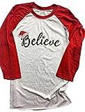 FAYALEQ Women's 3/4 Sleeve Christmas Believe Santa Hat Printed Raglan Baseball T-Shirt size XL (Red)