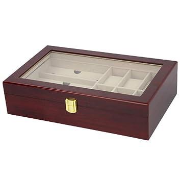 Hjyi Caja Para Reloj Caja de reloj de la pantalla, caja de reloj de alta calidad de madera, caja de almacenaje de cuero contra reloj: Amazon.es: Hogar