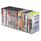 mDesign Household Storage Bin for DVDs, PS4 and Xbox Video Games - Large, Clear