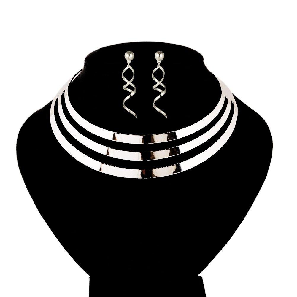 S&Moon Charm Metal Chunky Statement Bib Choker Necklace Jewelry (Silver)