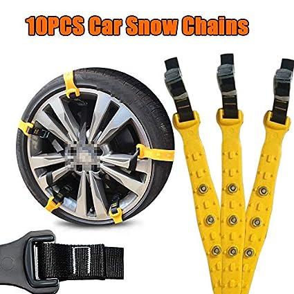 SHIOUCY - Cadenas de nieve de emergencia para coches y autocaravanas, 10 unidades, 185