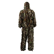 antWalking Outdoor 3D Leafy Leaves Camo Camouflage Clothing Jungle Woodland Hunting Ghillie Suit Free Size