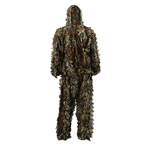 antWalking 3D Leafy Leaves Camouflage Clothing Outdoor Jungle Woodland Hunting Camo Ghillie Suit (Small)